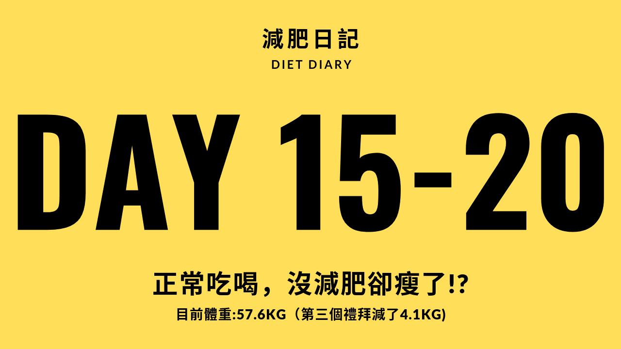 明師中醫 一個月減肥日記 DAY15~20(正常吃喝,沒減肥卻瘦了)